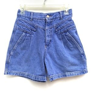 Vintage 90s Pleated High Waisted Jean Shorts